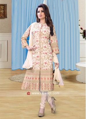 Flower Work Cotton Silk Salwar Suit