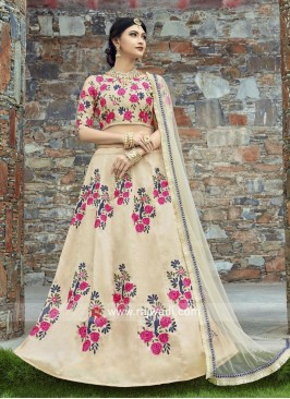 Flower Work Golden Cream Lehenga Set