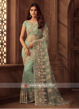 Flower Work Designer Net Saree