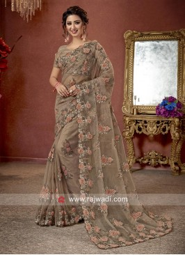 Flower Work Designer Saree in Dark Beige