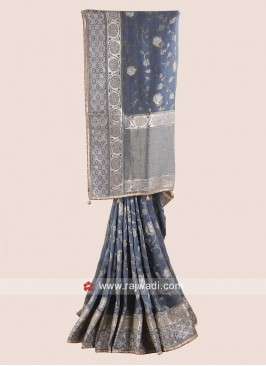 Flower Work Designer Saree in Grey