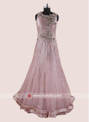 Flower Work Double Layer Full Gown