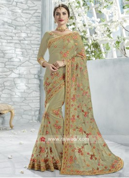 Flower Work Exclusive Glass Tissue Saree
