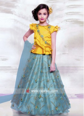 Flower Work Girls Choli Suit