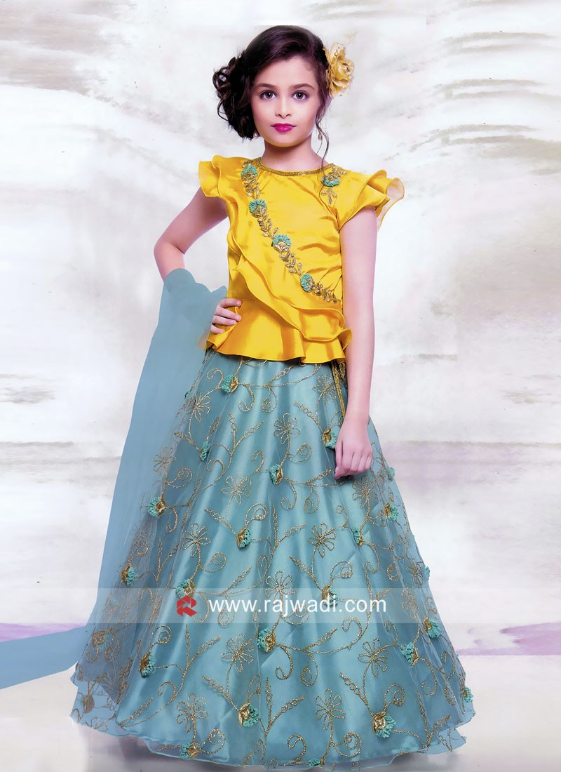 Flower Work Girls Choli Suit