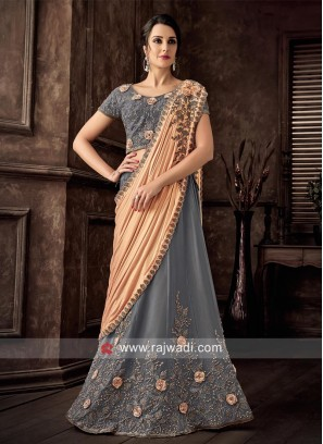 Flower Work Grey Lehenga Choli