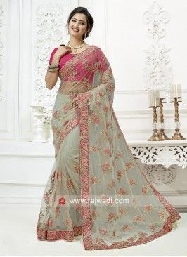 Flower Work Grey Saree with Contrast Blouse
