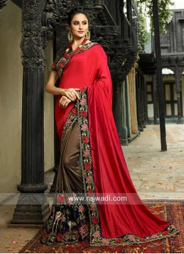 Flower Work Half n Half Saree