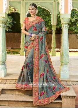 Flower Work Heavy Saree