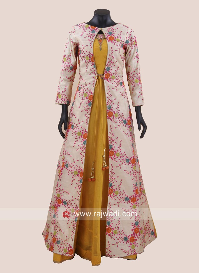 Flower Work Jacket Style Anarkali Suit