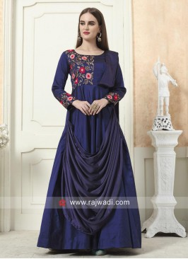 Flower Work Layered Gown in Navy Blue