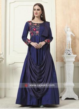 Flower Work Layered Gown in Navy Blue