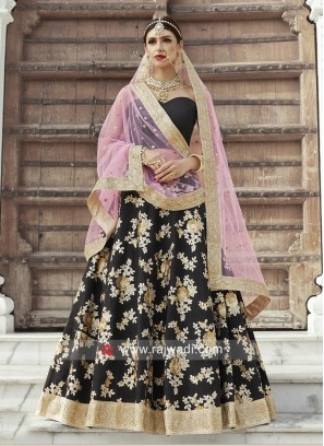 Flower Work Lehenga Choli in Black