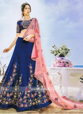 Flower Work Lehenga Choli in Blue