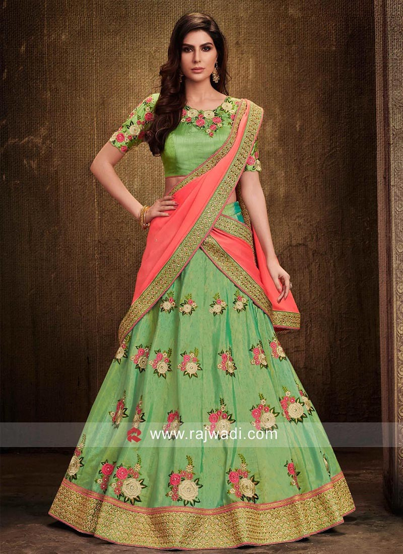 Flower Work Lehenga Choli in Light Green