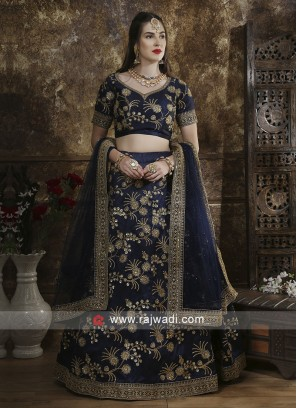 Flower Work Lehenga Choli in Navy