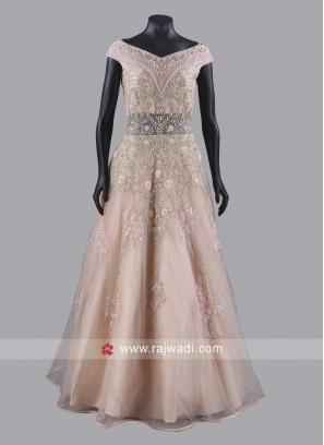Flower Work Net Gown in Peach