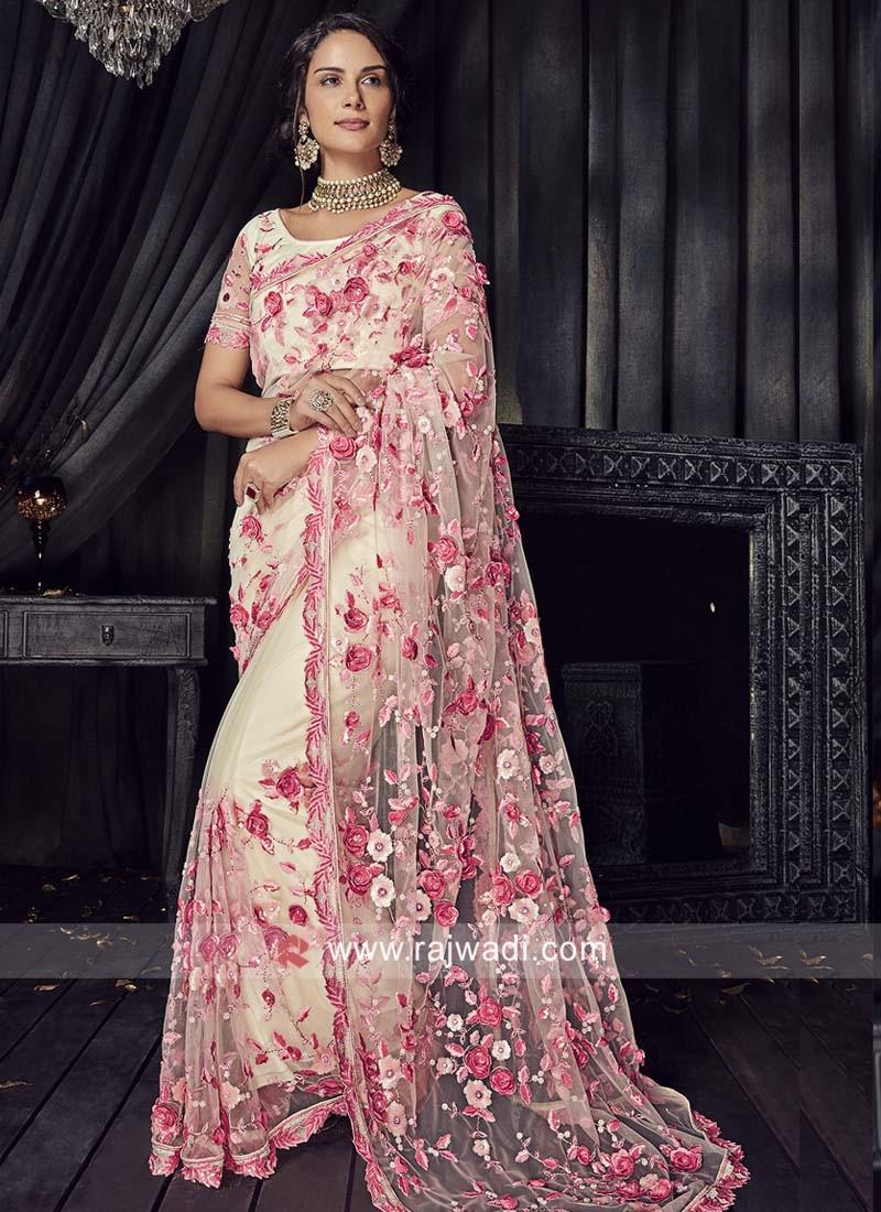 Flower Work Net Saree