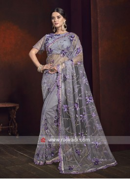 Flower Work Net Saree in Grey