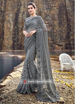Designer Flower Work Net Saree in Dark Grey