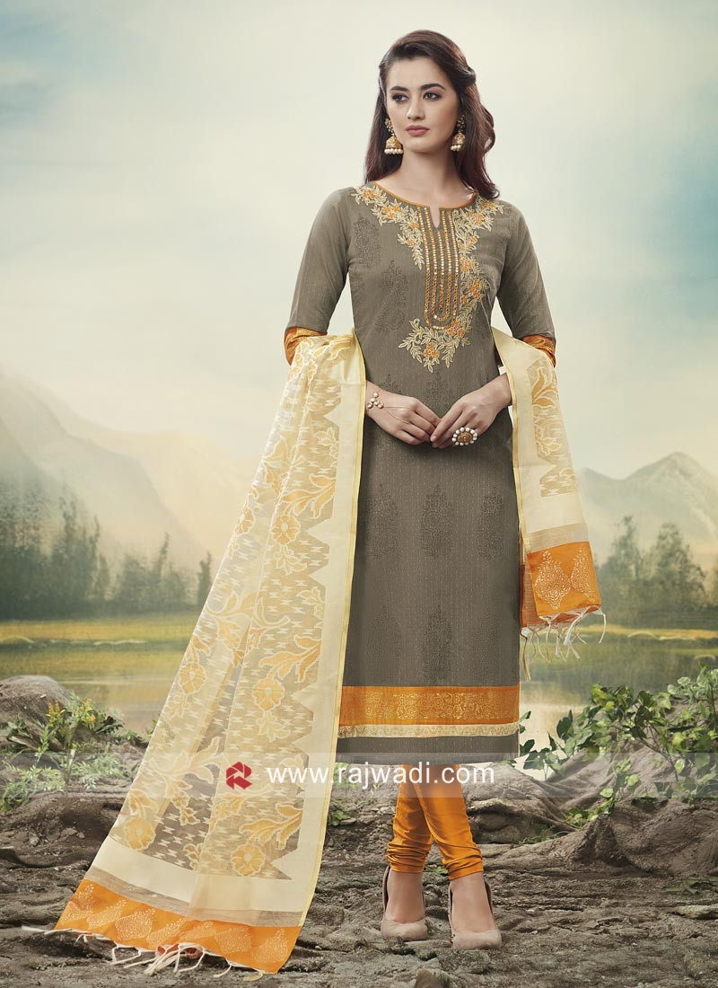 Flower Work Party Wear Churidar Suit