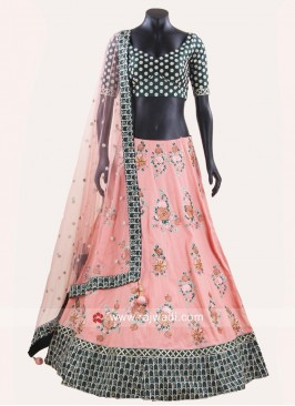 Flower Work Peach and Green Lehenga
