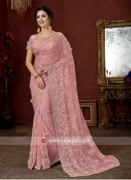 Flower Work Pink Tissue Saree