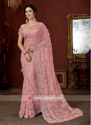 Flower Work Pink Tissue Saree