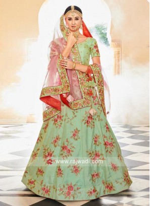 Flower Work Pista Green Lehenga Choli