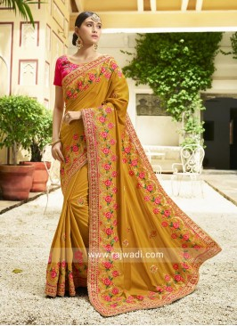 Flower Work Sari in Mustard Yellow