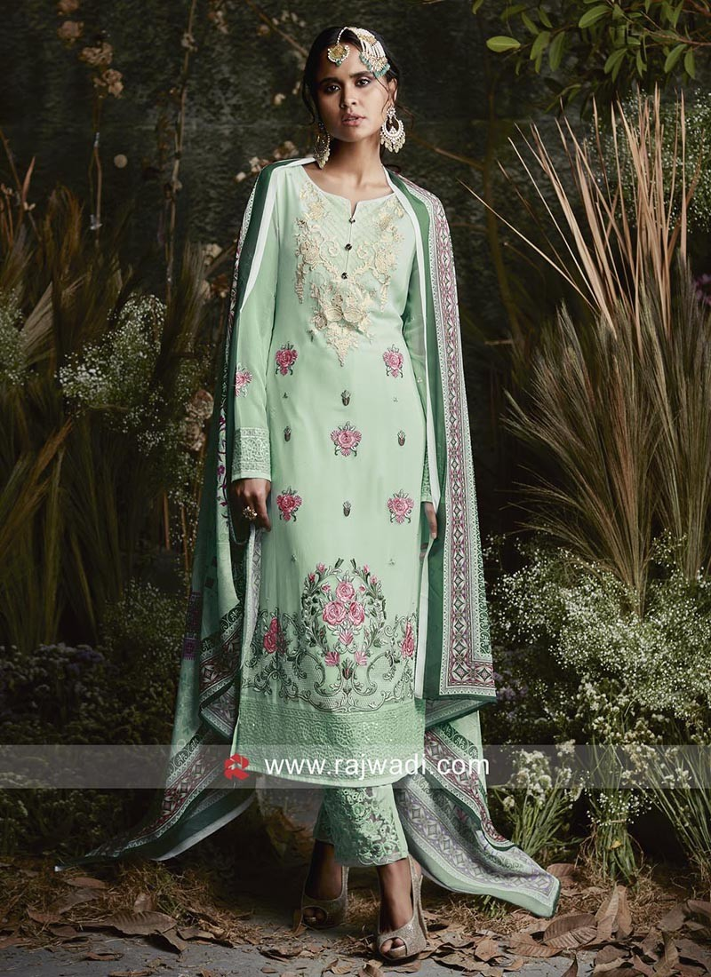 Flower Work Sea Green Salwar Kameez