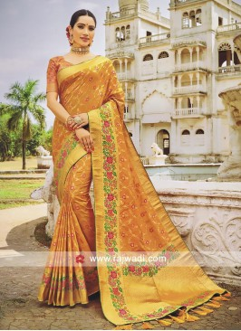 Flower Work Wedding Saree in Banarasi Silk