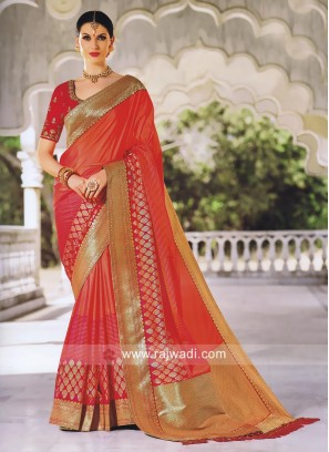 Foil Print Designer Saree with Blouse