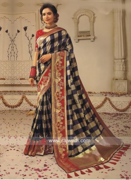 Foil Print Zari Weaving Checks Saree