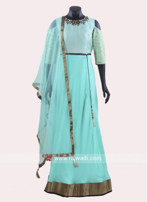 Fortune Chiffon Cold Shouder Anarkali Suit