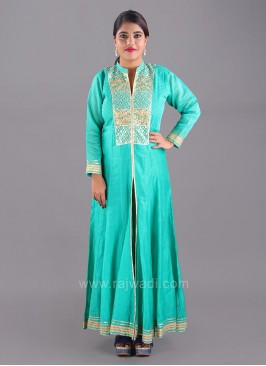 Front Slit Embroidered Ankle Length Kurti