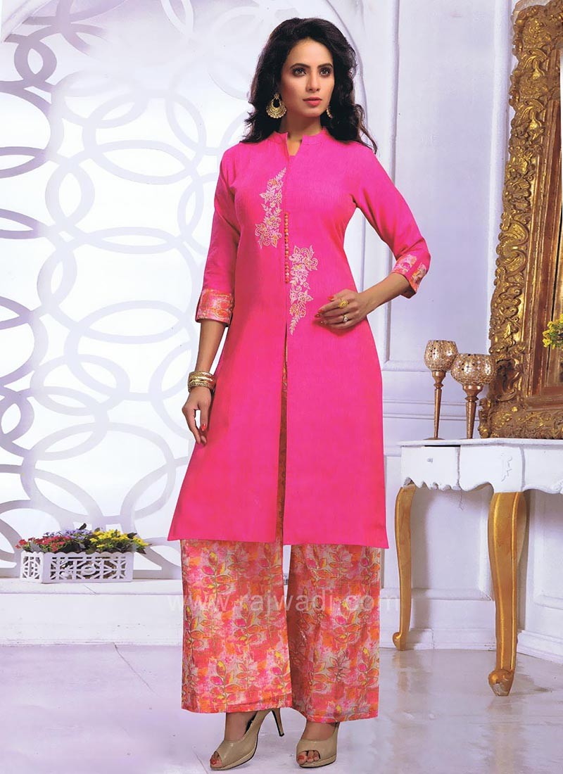 Front Slit Palazzo Suit with Printed Bottom