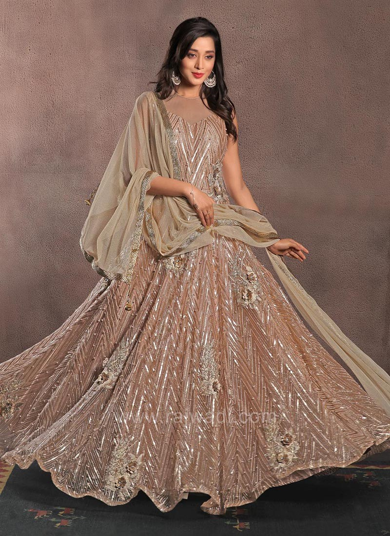 Full Flared Net Embellished Gown