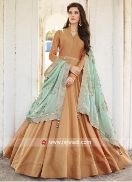 Full Length Anarkali with Contrast Dupatta