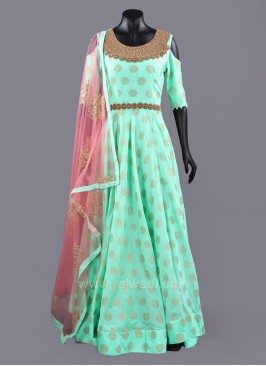 Full Length Cold Shoulder Anarkali Dress