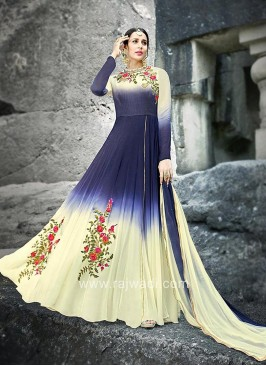 Full Length Embellished Anarkali with Shaded Dupatta