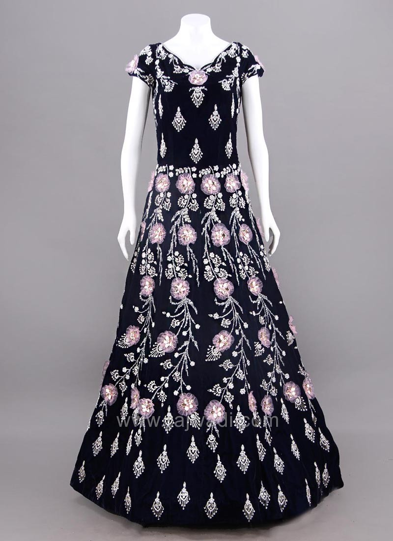 Full Length Floral Embroidered Evening Dress