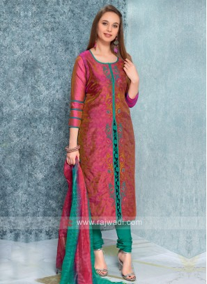 Gajari Color Kurta with Churidar & Dupatta