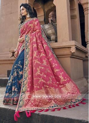 Gajari pink and blue banarasi silk saree