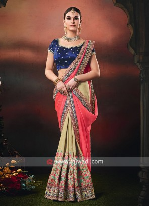 Gajari Pink and Golden Cream Half n Half Saree