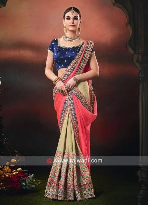 Gajari Pink and Golden Cream Half n Half Saree