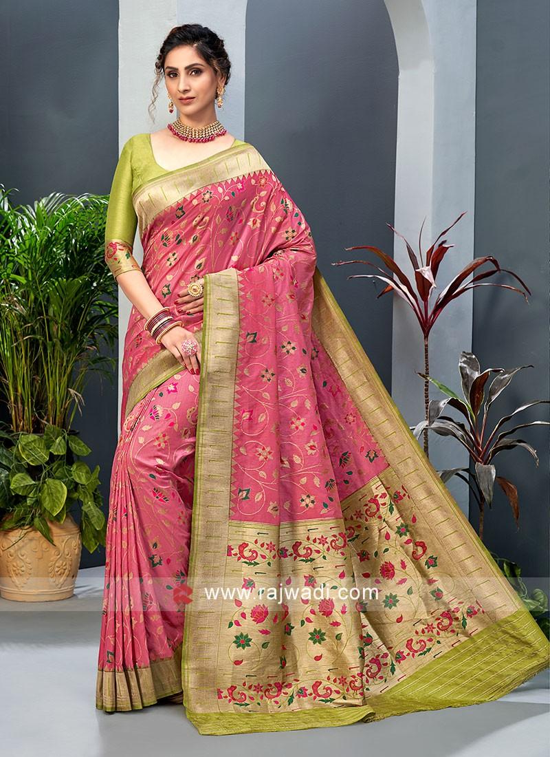 Gajari Pink And Mehndi Green Color Banarasi Silk For Occasion