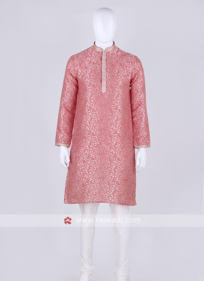 gajari pink and off white kurta pajama