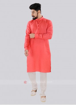 Gajari Pink And Off White Kurta Set
