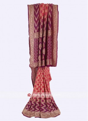 Gajari pink and purple chiffon saree
